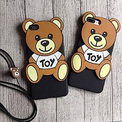 Силиконовый чехол мишка Toy для iPhone 8/8 Plus