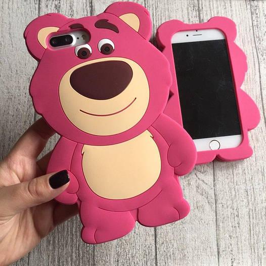 Силиконовый чехол розовый мишка для iPhone 8/8 Plus