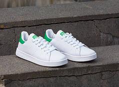 Кроссовки женские Adidas Stan Smith White/Green топ реплика