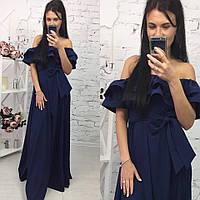 Элегантное женское платье в пол на рост до 180 см., с воланчиком, материал шелк армани. Цвет темно синий