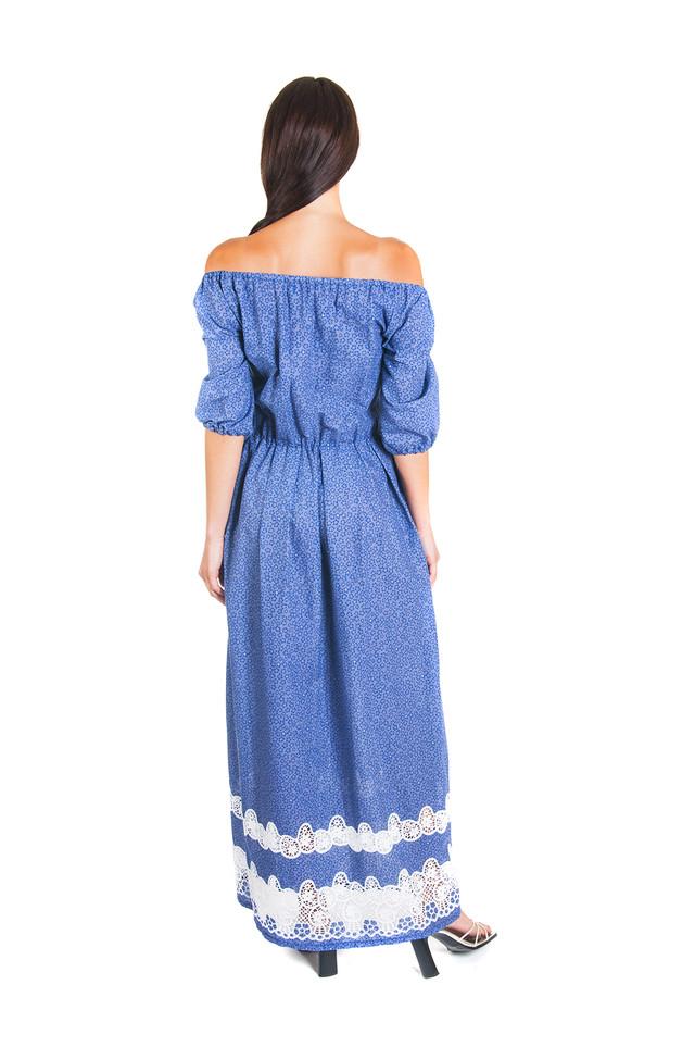 """Платье длиной в пол из батиста с """"ришелье"""" П185"""