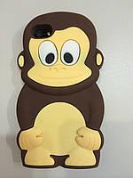 Чехол накладка силикон Обезьянка 3D коричневый для iPhone 5/5S