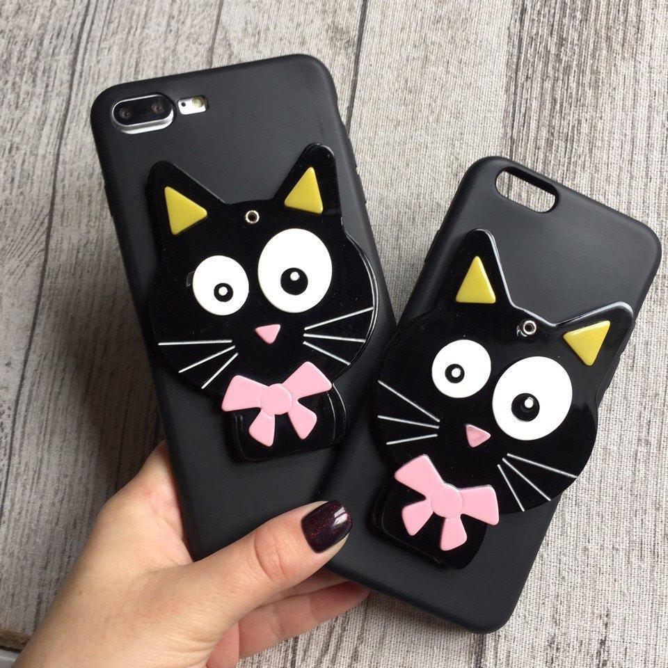 Силиконовый чехол чёрный кот для iPhone 8 Plus