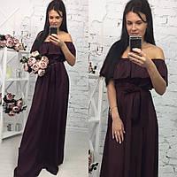 Элегантное женское платье в пол на рост до 180 см., с воланчиком, материал шелк армани. Цвет темно бордовый