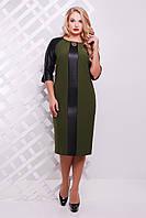 Платье женское Монро оливка экокожа