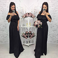 Элегантное женское платье в пол на рост до 180 см., с воланчиком, материал шелк армани. Цвет черный