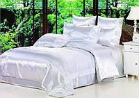 Атласный полуторный, двуспальный, евро, семейный постельный комплект, белый