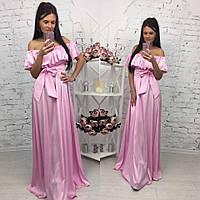 Элегантное женское платье в пол на рост до 180 см., с воланчиком, материал шелк армани. Цвет розовый