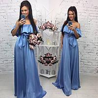 Элегантное женское платье в пол на рост до 180 см., с воланчиком, материал шелк армани. Цвет голубой