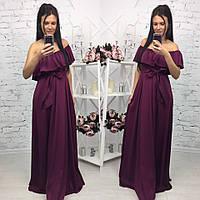 Элегантное женское платье в пол на рост до 180 см., с воланчиком, материал шелк армани. Цвет марсаловый
