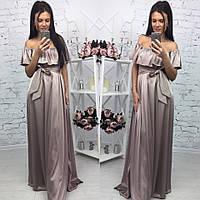 Элегантное женское платье в пол на рост до 180 см., с воланчиком, материал шелк армани. Цвет бронзовый