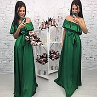 Элегантное женское платье в пол на рост до 180 см., с воланчиком, материал шелк армани. Цвет зеленый