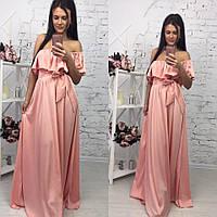 Элегантное женское платье в пол на рост до 180 см., с воланчиком, материал шелк армани. Цвет пудра