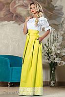 Женская летняя пышная юбка в пол с кружевами жёлтая