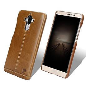 Чехол накладка для Huawei Mate 9 L29 пластиковый с натуральной кожей, PIERRE CARDIN, коричневый