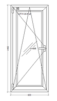 Окно металлопластиковое 600х1400 мм поворотно откидное