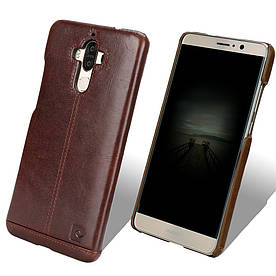 Чехол накладка для Huawei Mate 9 L29 пластиковый с натуральной кожей, PIERRE CARDIN, темно-коричневый