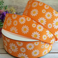 Репсовая лента 2,5 см, ромашка, оранжевый