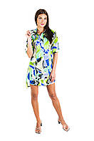 Платье-рубашка из зеленого хлопка Р102