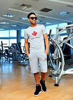 Костюм летний мужской серый, с футболкой и шортами
