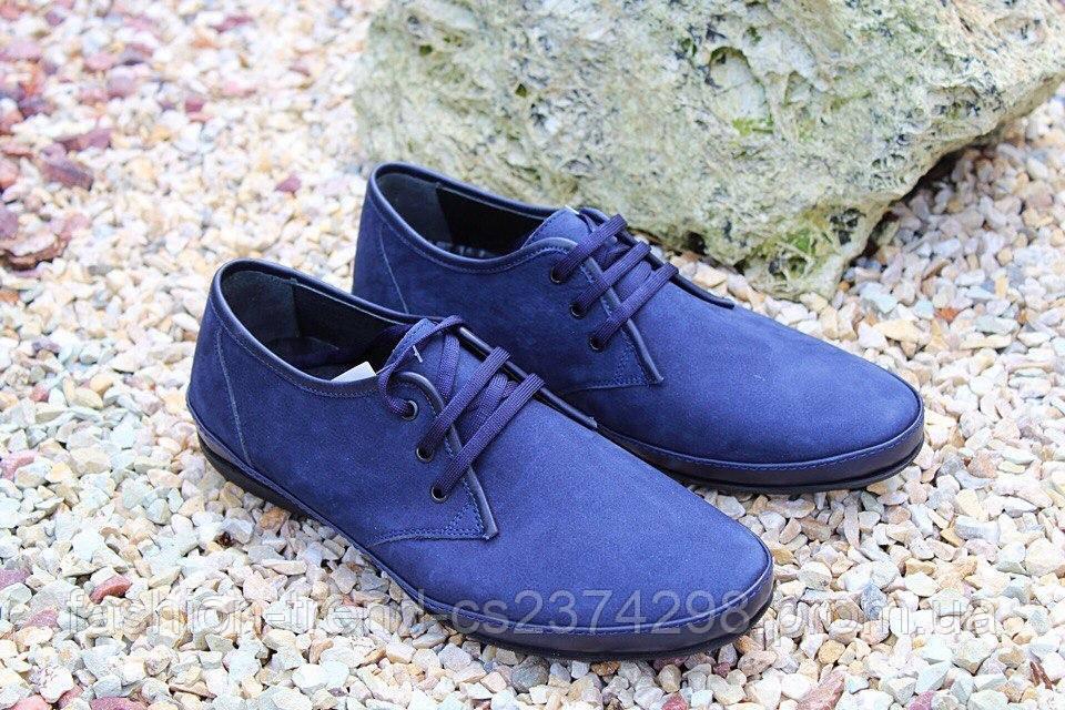 Мужские туфли комфорт из натурального нубука