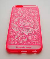 Чехол на Айфон 6/6 Luoya Пластик и Силикон Роза Полупрозрачный Розовый, фото 1