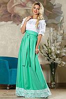 Женская летняя юбка в пол с кружевами бирюзовая