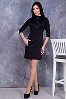Черное трикотажное платье Брошь ТМ Irena Richi 42-48 размеры