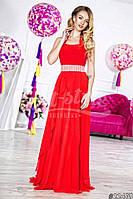 Нарядное женское платье в пол, ткань масло шифон и атлас,цвет красный