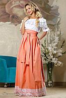 Женская летняя пышная юбка в пол с кружевами персиковая