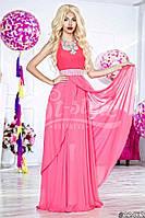 Нарядное женское платье в пол, ткань масло шифон и атлас,цвет розовый
