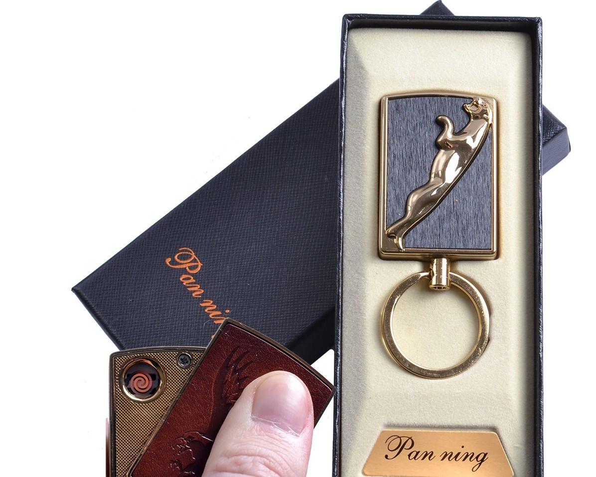 """Спиральная USB зажигалка-брелок """"Пантера"""" №4813-2, спираль накаливания, подарочная упаковка"""