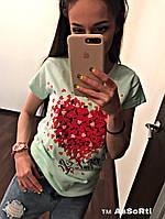 Женская футболка сердце,разные цвета.