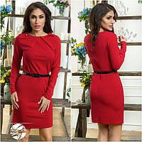 Женское платье красного цвета с длинным рукавом и поясом в комплекте. Модель 13290.