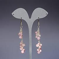 Серьги Грозди розовый кварц L-7см