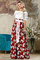 Женская пышная юбка в пол с цветочным принтом красная