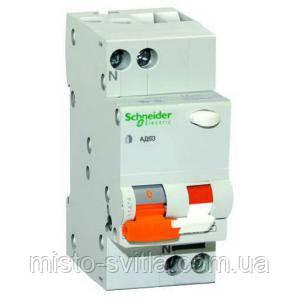 Диференційний автоматичний вимикач АД63 2П 16A C 30мА Schneider Electric Шнайдер Домовик