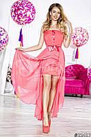 Нарядное женское платье с асимметричный низом,ткань масло атлас шифон,цвет розовый,сиреневый