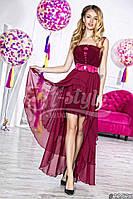 Нарядное женское платье с асимметричный низом,ткань масло атлас шифон,цвет марсала,св.розовый