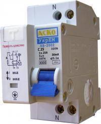 Дифференциальный выключатель ДВ-2002 25А 30мА