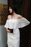 Льняное платье со спущенными плечами и широкой оборкой. Длина любая