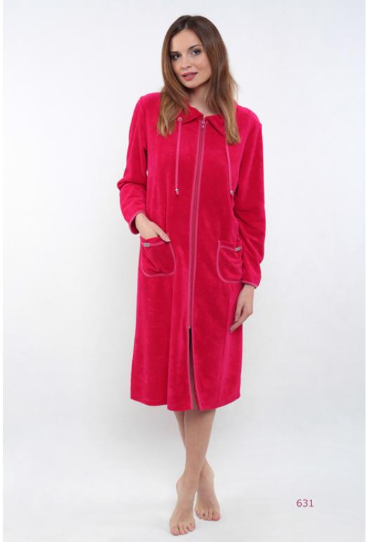 Жіночий халат на замок із комірцем у малиновому кольорі Calipso 631