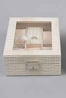 Шкатулка для часов и украшений J289 белая с замком, тиснение под крокодила