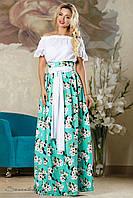 Женская летняя пышная юбка в пол с цветочным принтом бирюзовая