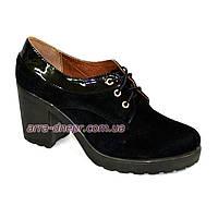 Женские черные замшевые туфли на шнуровке, устойчивый каблук