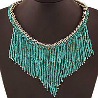 Ожерелье из бисера Анхелита P003005 бирюзовое