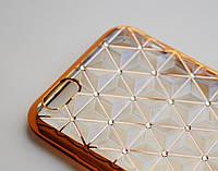 Чехол на Айфон 6/6s Gelin Series Силикон Стразы Объемный геометрический рисунок Прозрачный Золото