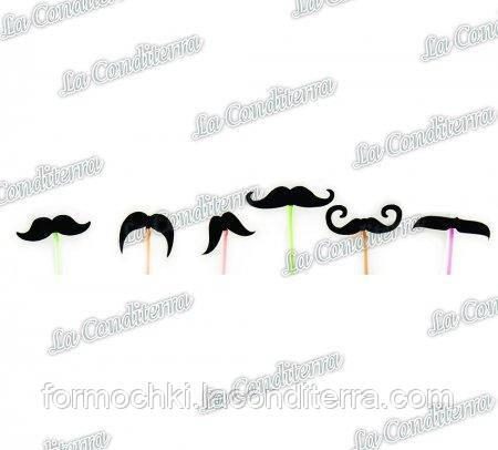 Трубочки с усами для коктейлей разноцветные PF6002 (60 шт.)