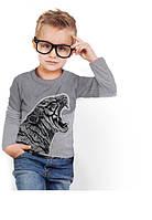"""Серый лонгслив для мальчика с карманом """"BiBi Tiger Gray""""; 3, 4, 5, 6-7, 8-9, 10-11, 12-13 лет"""