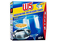 W5 All-in-One Geschirrreiniger-Tabs phosphatfrei - Таблетки для посудомоечной машины, безфосфатные, 40 шт.